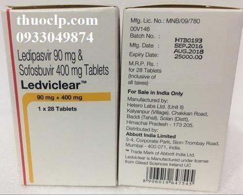 Thuốc Ledviclear 90mg/400mg Ledipasvir và Sofosbuvir điều trị viêm gan C (5)